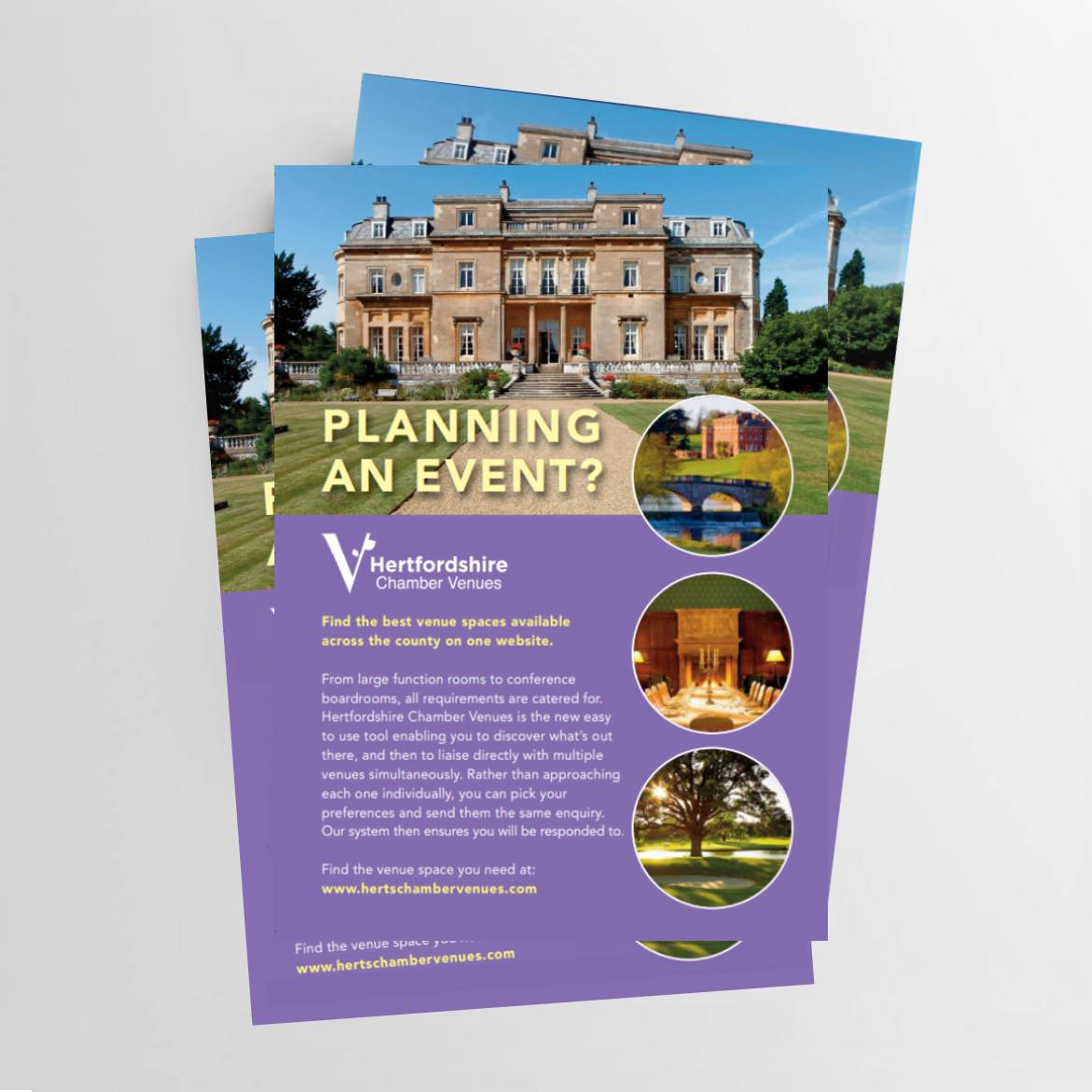 herts venues printed flyers in colour