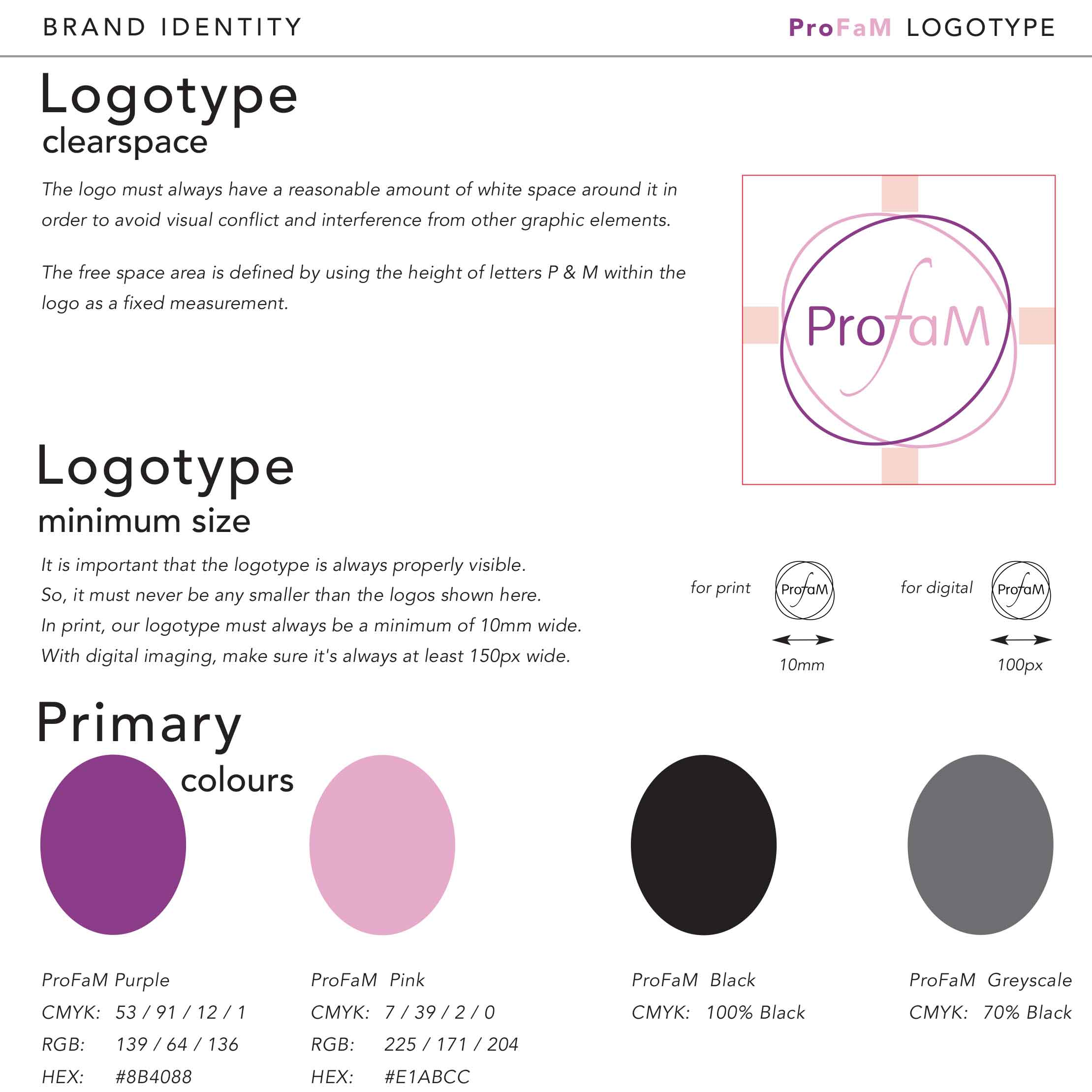 logo design, branding guideline colours produced by brightside
